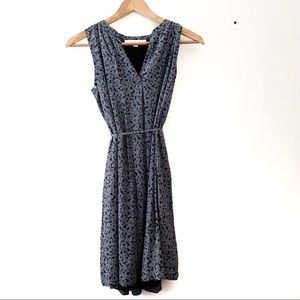 LOFT Petite Blue and White Floral Sleeveless Dress